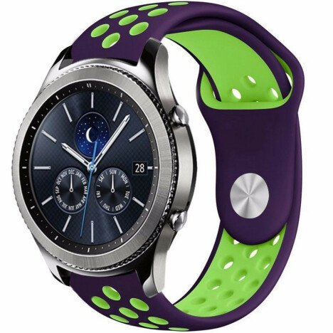 Curea ceas Smartwatch Samsung Gear S3, iUni 22 mm Silicon Sport Purple-Green